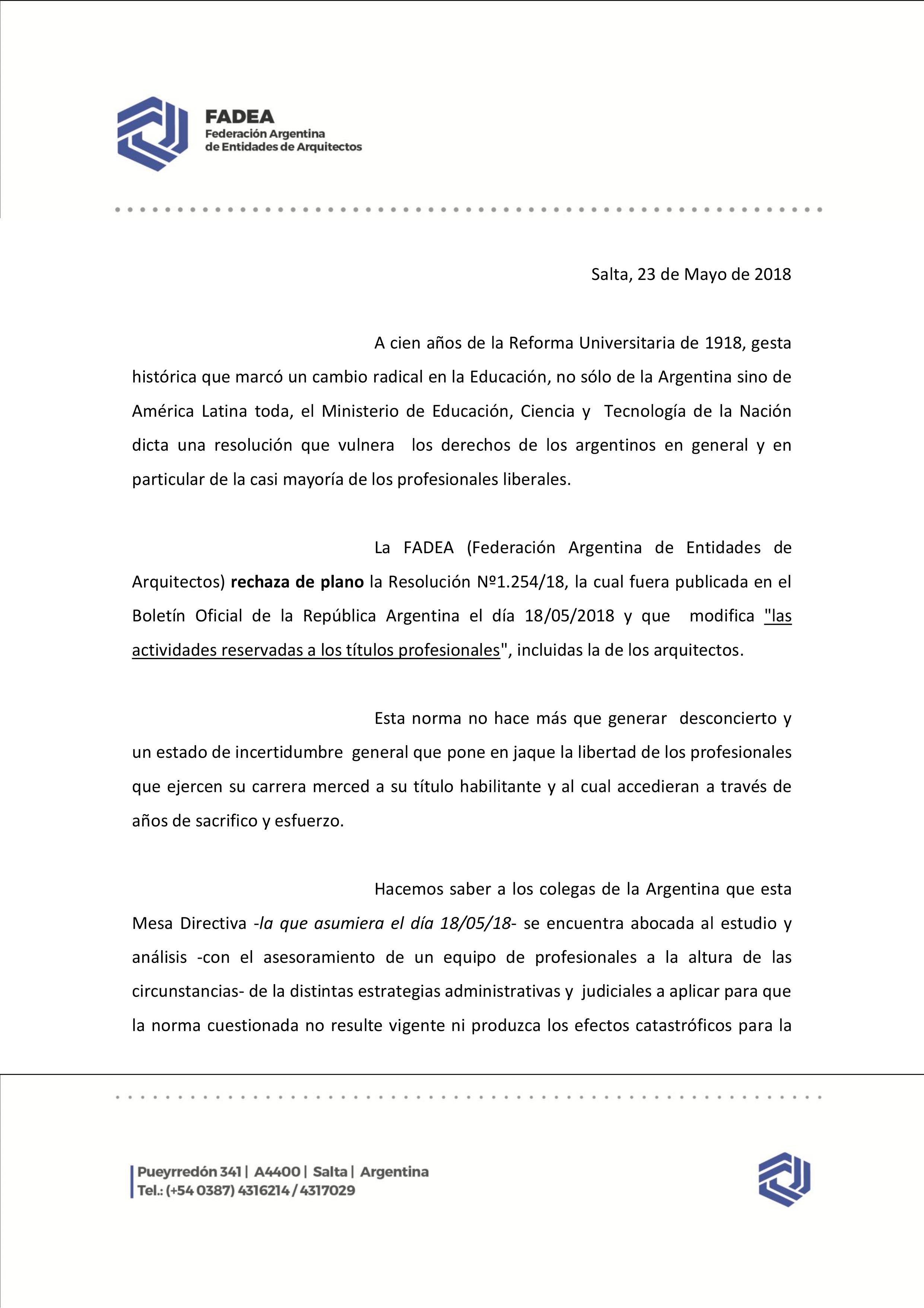 Comunicado de Prensa FADEA – Resol 1254/18 – Colegio de Arquitectos ...